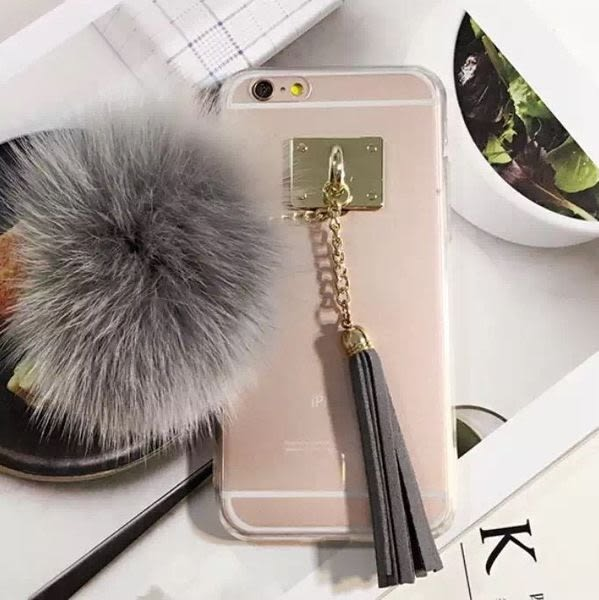 【紅荳屋】韓國流蘇毛球狐狸毛 iphone6s手機殼 蘋果6plus 5.5TPU包邊保護套