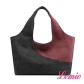 【Lemio】防潑水單肩撞色帆布包(魅力紫)