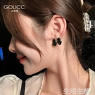 耳環 黑色蝴蝶結耳環簡約個性網紅氣質韓國耳釘925純銀銀針耳釘耳飾 生活主義