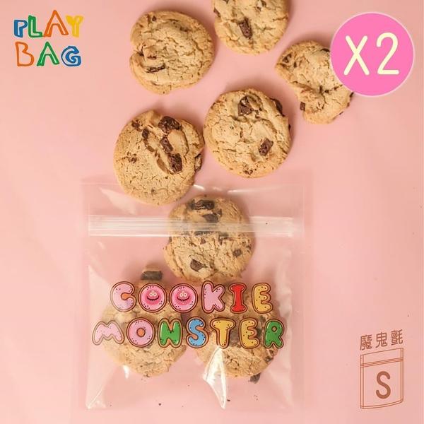 【南紡購物中心】【PLAY BAG】魔鬼氈環保袋(小)10入 Cookie Monster*2