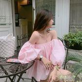 2018夏季新款洋氣性感露肩一字領娃娃衫泡泡袖抹胸蓬蓬上衣小衫女 寬鬆 舒適   草莓妞妞