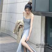 正韓連身裙復古chic修身顯瘦純色百搭開叉時尚吊帶長裙女