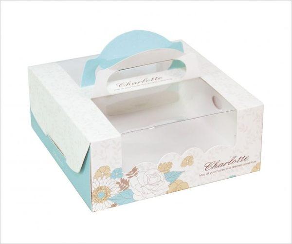 夏綠蒂 6吋手提派盒 附底托 外帶提盒 烘焙包裝 餅乾糖果紙盒 禮品包裝 乳酪盒 布丁蛋糕