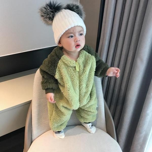 嬰兒童春秋冬裝套裝連身衣服保暖寶寶法蘭絨加厚睡衣新生兒加絨潮