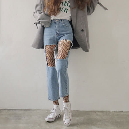 性感時尚漁網襪 (中網) 網襪 中網 破洞 褲襪 透視 性感 網格 破洞牛仔褲必備