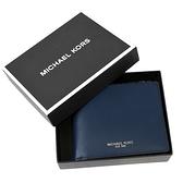 美國正品 MICHAEL KORS 專櫃男款 小牛皮六卡短夾禮盒組-午夜藍【現貨】