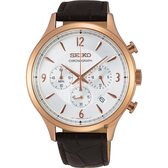 SEIKO精工 CS 紳士型男款計時手錶-銀x玫金框43.3mm 8T63-00M0K(SSB342P1)