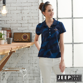 【JEEP】女裝幾何線條混搭POLO衫-藍色