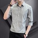 襯衫男士短袖2021新款條紋七分襯衣外套春夏季商務修身高級感男裝【快速出貨】