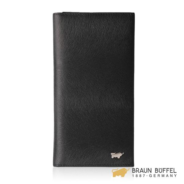 【BRAUN BUFFEL】提貝里烏斯-II系列17卡拉鍊零錢袋長夾 -黑色 BF348-631-BK