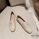 平底鞋樂福鞋女鞋一腳蹬小皮鞋粗跟平底單鞋【時尚大衣櫥】