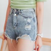 MUMU【P53191】雙扣割破抽鬚牛仔短褲