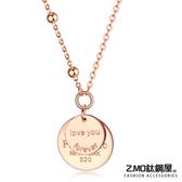 Z.MO鈦鋼屋 白鋼項鍊 鍍玫瑰金 雙層圓牌項鍊 甜美風格 閨蜜禮物 單條價【AKS1578】