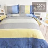 床包組_單人100%精梳棉 夏季熱銷【品味藍調】赫雪黎寢具