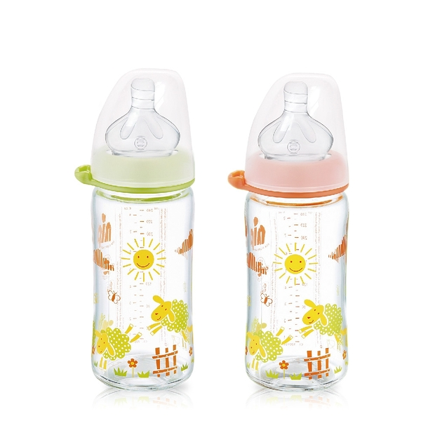 nip 德國圓型防脹氣玻璃奶瓶-240ml 綠/橘 (M號奶嘴) x 1 G-35080/G-35081