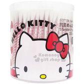 〔小禮堂〕Hello Kitty 日製抗菌棉花棒《紅.圓罐.大臉.蝴蝶結》200支入 4936613-05626