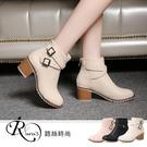 韓系街頭個性休閒百搭交叉雙扣環粗高跟短靴/3色/35-43碼 (RX0899-887)