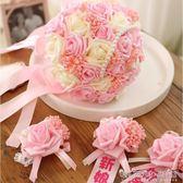 韓式婚禮新娘手捧花結婚婚禮玫瑰珍珠蕾絲絲帶仿真假花送胸花腕花 晴天時尚館