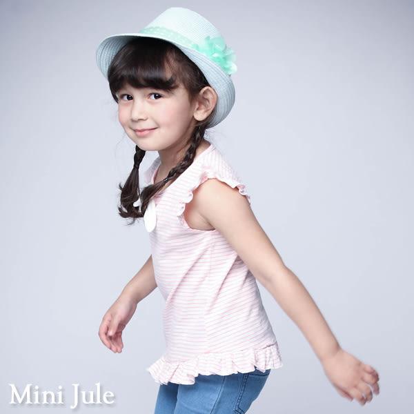 童裝 上衣 綁結荷葉邊條紋/鏤空綁帶荷葉袖竹節短袖上衣(共3色) Azio Kids 美國派 童裝