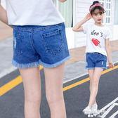 女童牛仔短褲夏裝破洞中大童兒童夏季韓版外穿百搭薄款熱褲子 歐韓時代