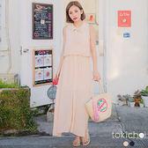 東京著衣-輕甜漫步領綁帶無袖洋裝-S.M(180327)