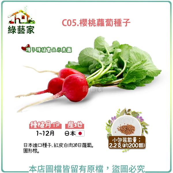 【綠藝家】C05.櫻桃蘿蔔種子2.2克(約200顆)