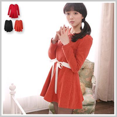 洋裝 韓版公主袖A-Line修身顯瘦素色毛尼洋裝【D2143】☆雙兒網☆ 幸福樂章