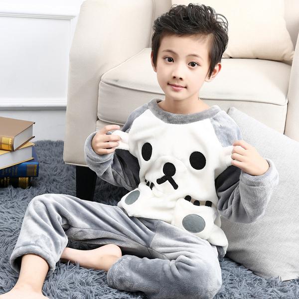 男童睡衣秋冬季兒童法蘭絨珊瑚絨加絨加厚小男孩中大童家居服寶寶