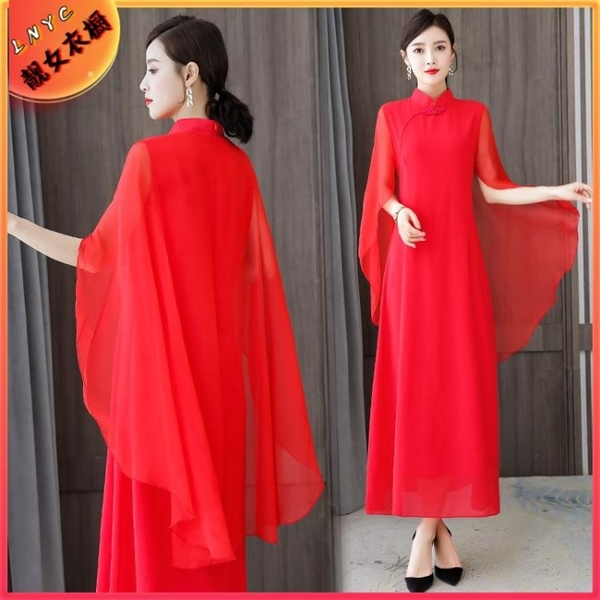 洋氣媽媽2021年夏季新款時尚氣質飄逸超仙禮服長裙改良旗袍洋裝 幸福第一站
