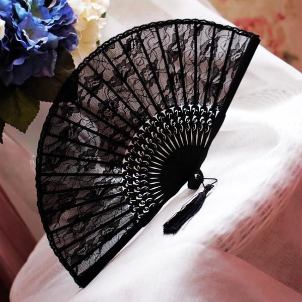 女士搭配旗袍舞蹈小折扇黑色蕾絲古風古典復古漢服折疊中國風扇子 怦然新品