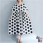 大尺碼洋裝寬鬆大尺碼女韓版短袖中長款連身裙 降價兩天