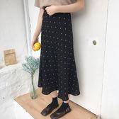 韓版黑色小波點裙半身裙女春款2019半裙A字裙學生高 伊蒂斯女裝