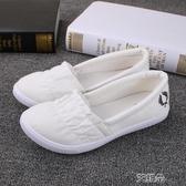 懶人鞋小白鞋女夏一腳蹬平底鞋韓版懶人帆布鞋子女夏護士鞋白色布鞋子女     艾維朵