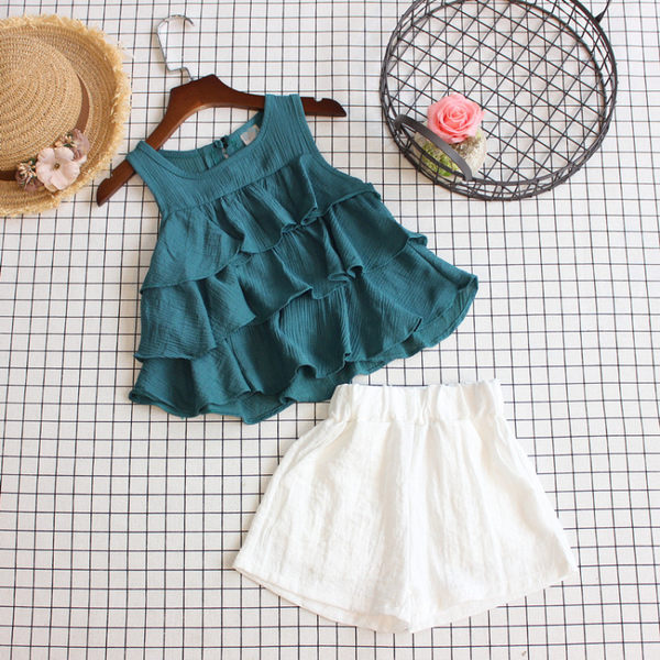 夏季女童荷葉邊背心裙上衣 白色短褲套裝兒童甜美層層兩件套 〖korea時尚記〗