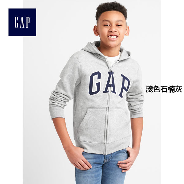 Gap男童 LOGO系列舒適刷毛拉鏈長袖連帽外套 260311-淺色石楠灰
