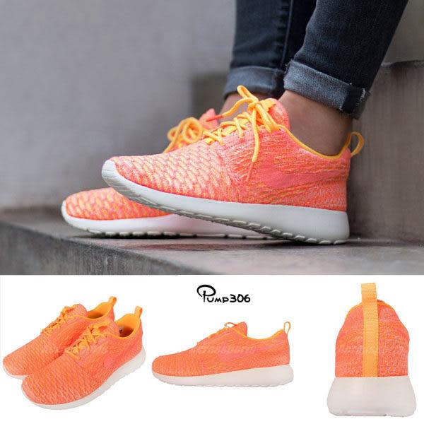 【四折特賣】Nike 休閒慢跑鞋 Wmns Roshe One Flyknit 橘 白 編織鞋面 休閒鞋 女鞋【PUMP306】 704927-802