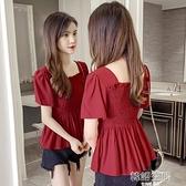 2020新款韓版方領露背荷葉邊修身遮肚子雪紡衫女夏短袖上衣娃娃衫