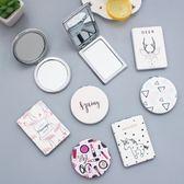 時尚皮面鏡韓國創迷你便攜折疊小鏡子雙面鏡第七公社