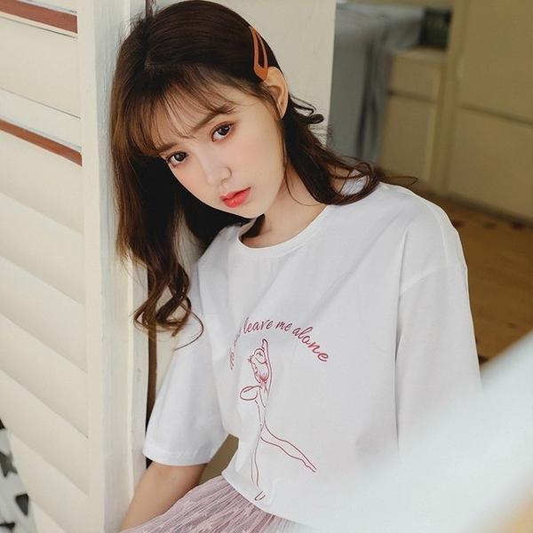 FINDSENSE G6 正韓女裝上衣 大尺碼夏裝 可愛簡約卡通印花圓領寬鬆T短