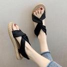 草編鞋 泰國編織涼鞋女夏季新款法式復古羅馬鞋仿麻底防滑沙灘鞋-Ballet朵朵