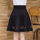 蓬蓬裙 夏季網紗半身裙中長蕾絲傘裙黑色a字裙高腰顯瘦女蓬蓬裙大擺裙子-Ballet朵朵