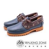 【南紡購物中心】WALKING ZONE 撞色款 帆船雷根鞋 男鞋-深藍底(另有咖啡底)