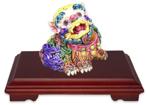 鹿港窯- 居家開運商品-台灣國寶交趾陶~S歡喜獅