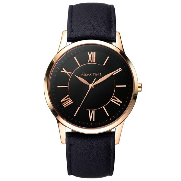 Relax Time RT58 經典學院風格腕錶-黑x玫塊金框/36mm RT-58-17L