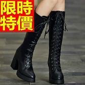 長靴-魅力簡約個性潮流鞋帶粗跟過膝女馬靴3色64e38[巴黎精品]