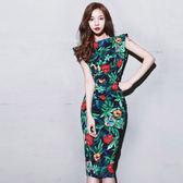 VK精品服飾 韓國風顯瘦碎花裙露背性感開叉復古印花無袖洋裝