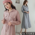 【天母嚴選】附綁帶純色長版洋裝(共二色)
