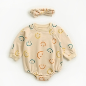 微笑表情長袖三角包屁衣 附髮帶 連身衣 嬰兒裝