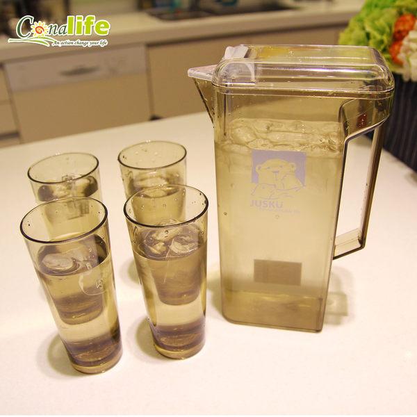 現貨! 台灣製造掀蓋式冷水壺杯組 (1壺4水杯) 食品級材質