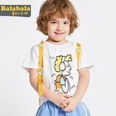 巴拉巴拉男童短袖T恤純棉寶寶打底衫2019夏裝新款童裝小童體恤白